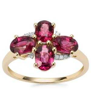 Comeria Garnet Ring with Diamond in 9K Gold 2.62cts