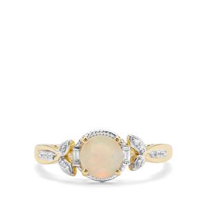 Ethiopian Opal & White Zircon 9K Gold Ring ATGW 0.64cts
