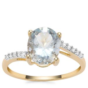 Madagascan Aquamarine Ring with White Zircon in 9K Gold 2.40cts