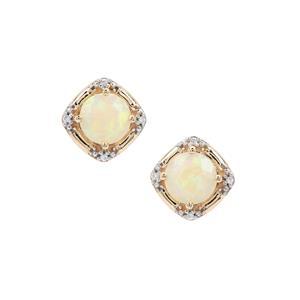 Ethiopian Opal Earrings with White Zircon in 9K Gold 1.66cts