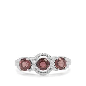 Burmese Spinel Ring with White Zircon in Sterling Silver 1.17cts