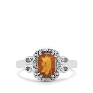 Burmese Amber & White Zircon Sterling Silver Ring (8x6mm)