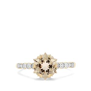 Wobito Snowflake Cut Serenite & Diamond 9K Gold Ring ATGW 2.27cts