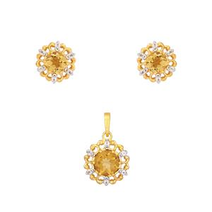 Champagne Quartz Set with White Topaz in Gold Plated Sterling Silver 3.3cts