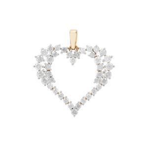 Diamond Heart Pendant in 9K Gold 1ct