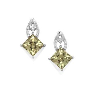 Csarite® Earrings with Diamond in 18K White Gold 4.16cts