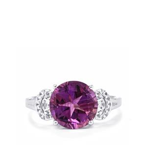 Lone Star Ametista Amethyst & White Topaz Sterling Silver Ring ATGW 3.59cts