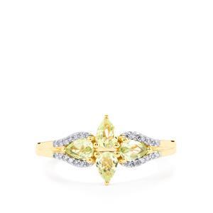 Merelani Mint Garnet & Diamond 10K Gold Ring ATGW 0.66cts
