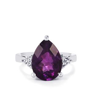 Zambian Amethyst & White Topaz Sterling Silver Ring ATGW 3.37cts