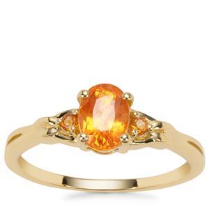 Mandarin Garnet Ring with Diamantina Citrine in 9K Gold 1.51cts