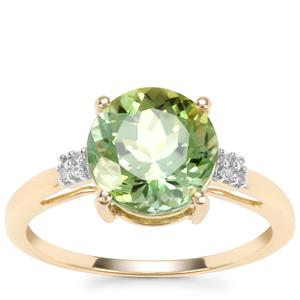 Congo Mint Tourmaline Ring with Diamond in 9K Gold 2.95cts
