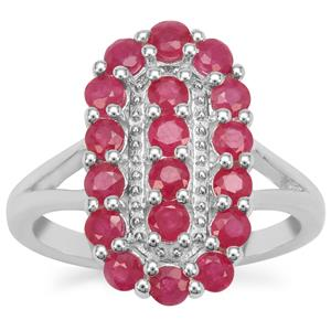 Burmese Ruby Ring in Sterling Silver 2.20cts
