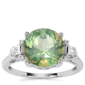 Lone Star Fern Green Quartz Ring with White Zircon in Sterling Silver 4cts
