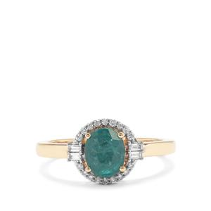 Grandidierite Ring with Diamond in 18K Gold 1.15cts