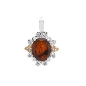 Burmese Amber & Rio Golden Citrine Sterling Silver Pendant ATGW 1.40cts
