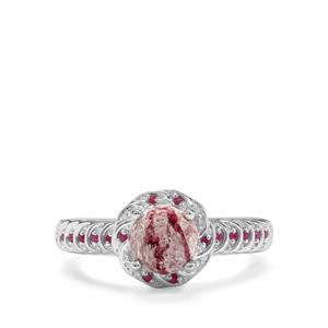 Bixbite & Burmese Ruby Sterling Silver Ring ATGW 1.28cts