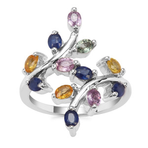 Rainbow Sapphire Ring in Sterling Silver 1.78cts
