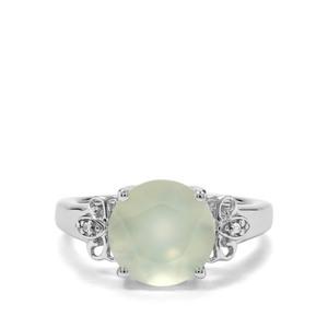 Prehnite & White Zircon Sterling Silver Ring ATGW 4.02cts