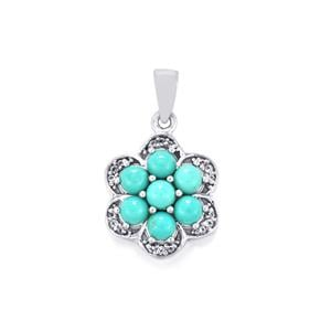 Sleeping Beauty Turquoise Pendant with White Topaz in Sterling Silver 1.80cts