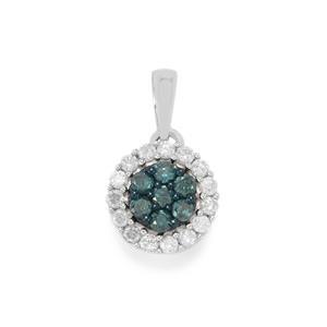 1/2ct Blue & White Diamond Sterling Silver Pendant