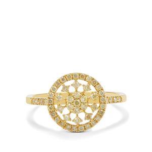1/2ct Natural Yellow Diamond 9K Gold Ring