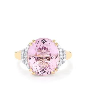 Mawi Kunzite Ring with Diamond in 18k Gold 7.97cts