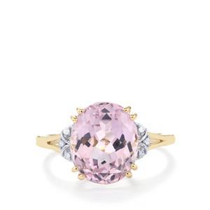 Kolum Kunzite Ring with Diamond in 10K Gold 6.30cts