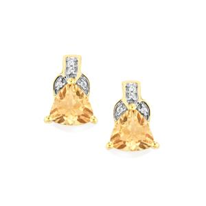 Red Flash Serenite Earrings with White Zircon in 10k Gold 2.13cts