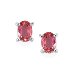 Pink Sapphire Earrings in Platinum Plated Sterling Silver 1.21cts