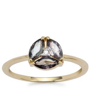 Tunduru Colour Change Sapphire Ring With White Zircon in 10K Gold 0.71ct