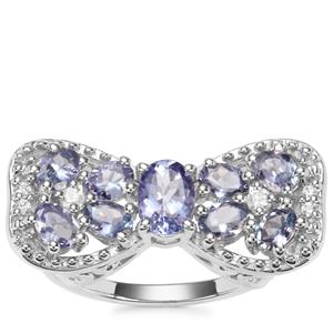 Tanzanite Ring with White Zircon in Sterling Silver 2.11cts