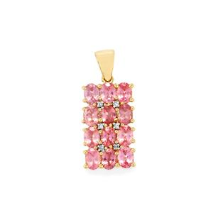 Mozambique Pink Spinel Pendant with Diamond in 9K Gold 2.27cts