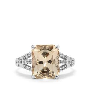 Serenite & White Zircon 9K White Gold Ring ATGW 4.04cts