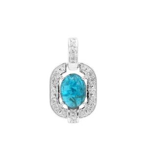 Neon Apatite Pendant with White Zircon in Sterling Silver 1.88cts