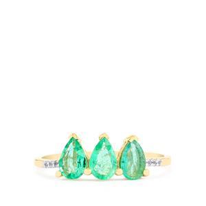 Zambian Emerald & White Sapphire 10K Gold Ring ATGW 1.14cts