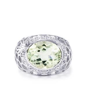 Prasiolite & White Topaz Sterling Silver Ring ATGW 4.24cts