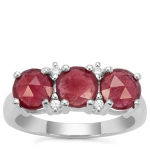 Rose Cut Moramanga Ruby Ring with White Zircon in Sterling Silver 2.37cts