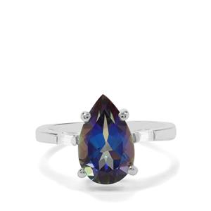 Mystic Blue Topaz & White Zircon Sterling Silver Ring ATGW 4.01cts