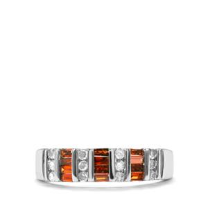 Red Diamond Ring with White Diamond in 10K White Gold 0.50ct