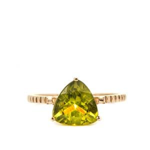 Red Dragon Peridot Ring in 9K Gold 2.80cts