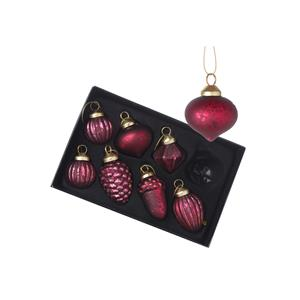 Set of Glass Baubles Mix wih Accorn Designs in Red