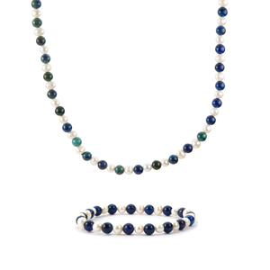 Lapis Lazuli Set of Necklace and Bracelet with Kaori Cultured Pearl