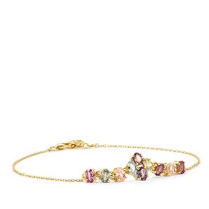 Natural Sakaraha Rainbow Sapphire & Diamond 9K Gold Bracelet ATGW 3.14cts