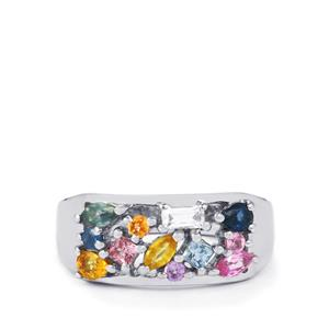 Rainbow Sapphire & White Topaz Sterling Silver Ring ATGW 1.25cts