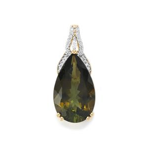 Green Tourmaline Pendant with Diamond in 18K Gold 9.74cts