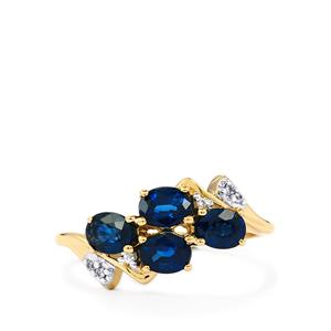 Australian Blue Sapphire Ring with White Zircon in 9K Gold 1.38cts