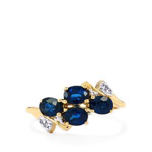 Australian Blue Sapphire & White Zircon 9K Gold Ring ATGW 1.38cts