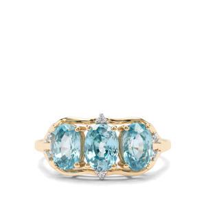 3.81ct Ratanakiri Blue & White Zircon 9K Gold Ring