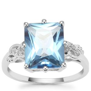 Santa Maria Topaz Ring with White Zircon in Sterling Silver 5.30cts