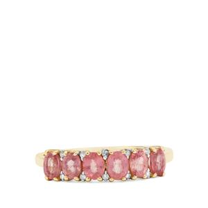 Padparadscha Sapphire Ring with Diamond in 9K Gold 1.42cts